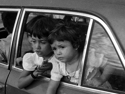 Children in car, Bolivia