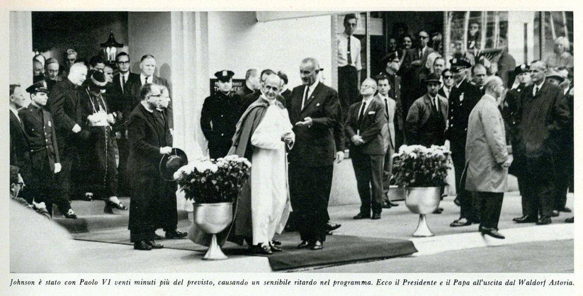Pope Paul VI with Lyndon Johnson, NYC