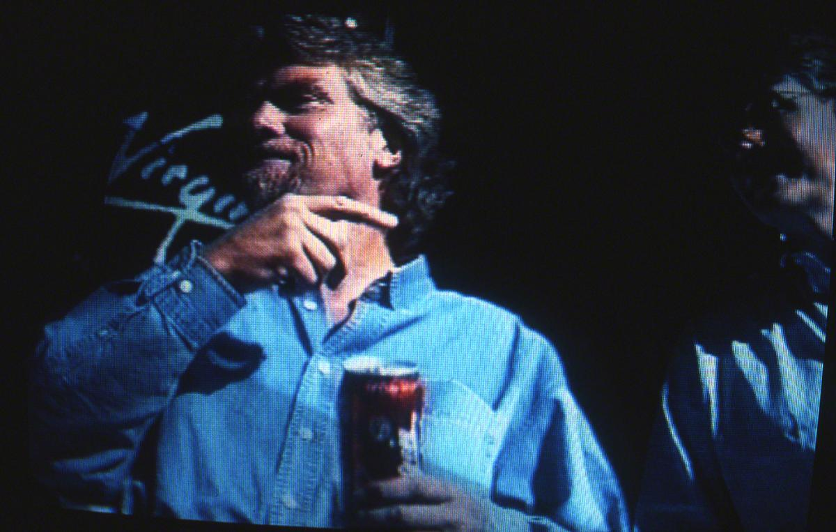 "Richard Branson with ""Virgin Cola"" (videographic)"